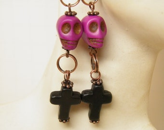 Day of the Dead Earrings, Skull Earrings, Black Cross and Purple Skull Jewelry, Day of the Dead Jewelry, Goth Earrings, Halloween Earrings