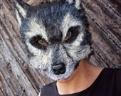 Ready to Ship! Mardi Gras Mask, Adult size animal mask, Big Bad Gray Wolf Mask, werewolf mask, wolf costume, animal mask, couple costume