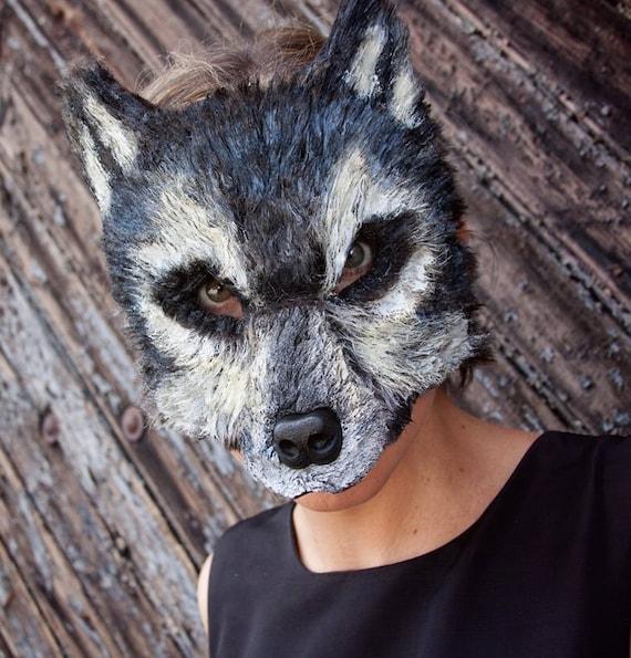Ready to Ship! Mardi Gras Mask, Adult size animal mask, Big Bad Gray Wolf Mask, werewolf mask, wolf costume, animal mask, couple costume