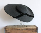 r e s e r v e d - vintage 1930s straw hat 30s wide brim black straw cartwheel hat with large velvet bow / lady fair