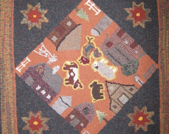 Barn Square Rug Pattern on Linen Foundation