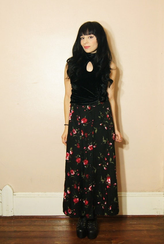 Long Black Floral Skirt - Dress Ala