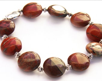Summer Outdoors Red Jasper Stone Bracelet Natural Stone Bracelet Earthy Red Sterling Silver High Gloss Polished Semiprecious Jewelry