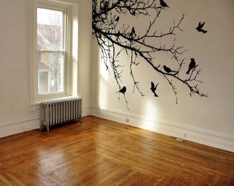 Vinyl Wall Decal Sticker Birds Tree Branch 1002m