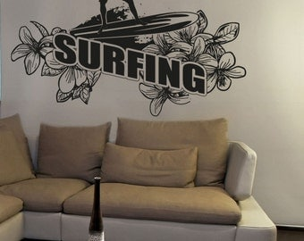 Vinyl Wall Decal Sticker Floral Surfing OSAA1234B
