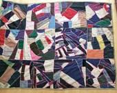 Antique 1900s Patchwork Quilt // Edwardian Folk Art Blanket // Hand Stitched Bedspread