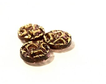 6 Gold Rose Vintage Buttons - 1950s - 60s Plastic Buttons - New Old Stock Buttons - Small Gold Purple Brown Buttons - Flower Button