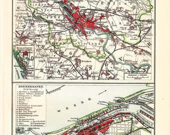 1908 edwardian BREMEN city map, Bremen and Bremerhaven, Germany. Europe.104 years Old lithograph print.