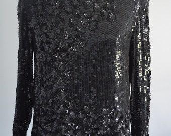 Vintage Sequin Scalloped Black Silk Blouse Top