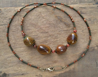 Rustic Jasper Nugget Necklace, Bohemian style brown, tan and rust color stone pebble jewelry