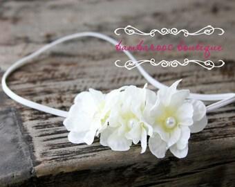 baby headband, newborn headband, ivory flower headband