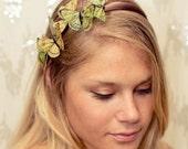 Yellow and Green Butterfly Woodland Headband - fairy,princess,forest,fantasy,fairytale,garden