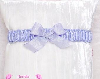 Purple Lolita Garter, Lilac satin & glitter bow. Blue, Bride, Bridal, Prom, Rockabilly, Burlesque, Goth, Hen Night, Bachelorette, Couture