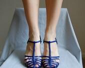 vintage ROYAL blue caged T-strap high heels 7.5