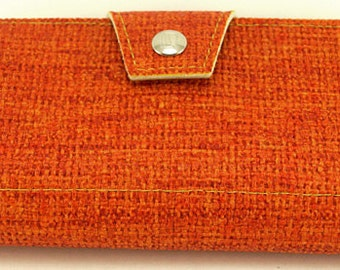 Coral & Mustard Womens Wallet - Made 60's upholstery vinyl -Holds Checkbook and Change, Vegan