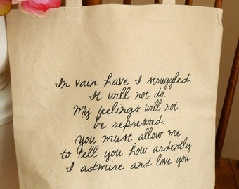 Mr Darcy Proposal, Pride and Prejudice Tote bag, Jane Austen tote bag, Pride and Prejudice, Mr. Darcy proposal