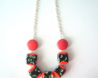 Geometric red necklace, black and red jewelry