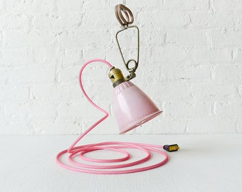 Pretty in Pink - Vintage Bell Clip Light Hanging Lamp with Bright Pink Net Color Cord OOAK