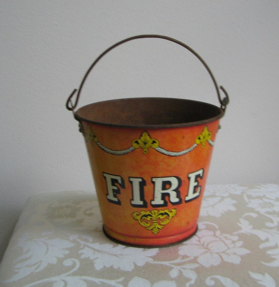 """Vintage Ohio Art Tin Sand Pail Bucket """"Fire"""", Metal Handle Rusty Metalware, Fireman Fire Department Collectible Child's Toy"""