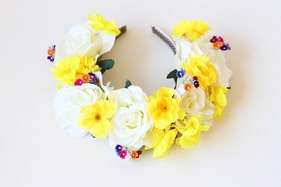 cream yellow statement flower crown headband  // oversize, wedding bridal headpiece, quirky, lana del rey, summer, festival