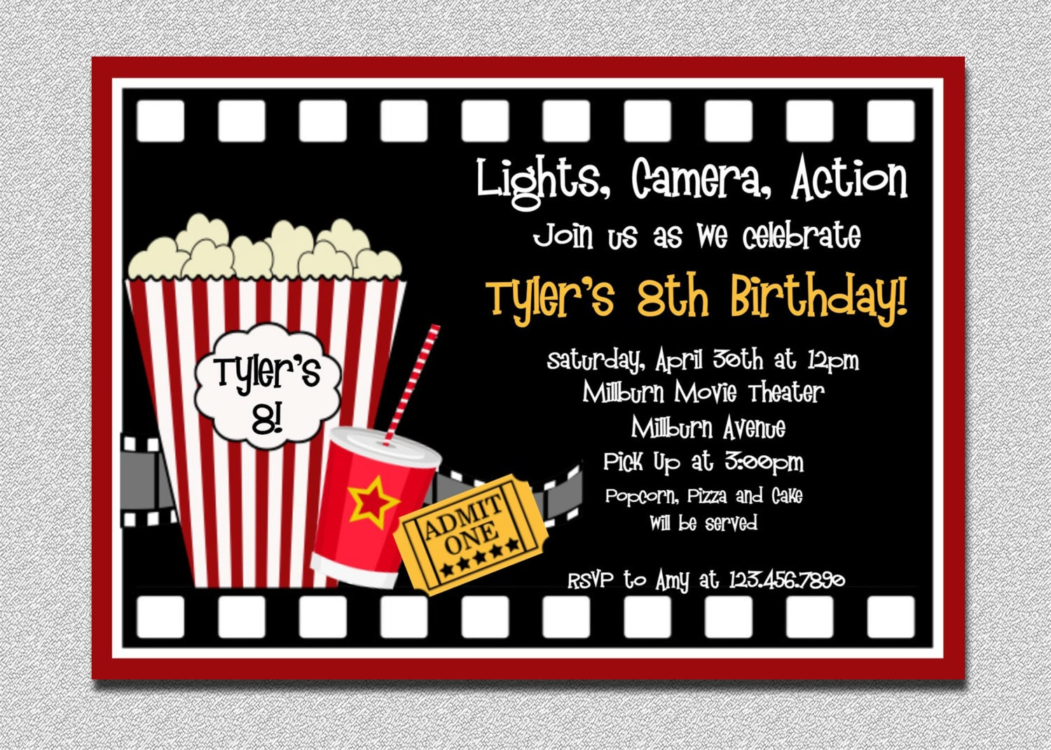 movie birthday invitation movie night birthday party. Black Bedroom Furniture Sets. Home Design Ideas