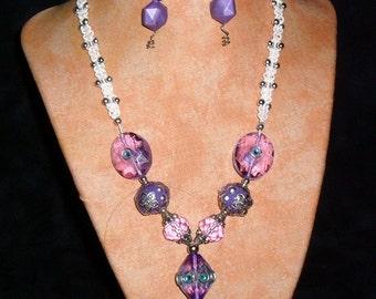 Hemp Necklace K15 Purple Jewel