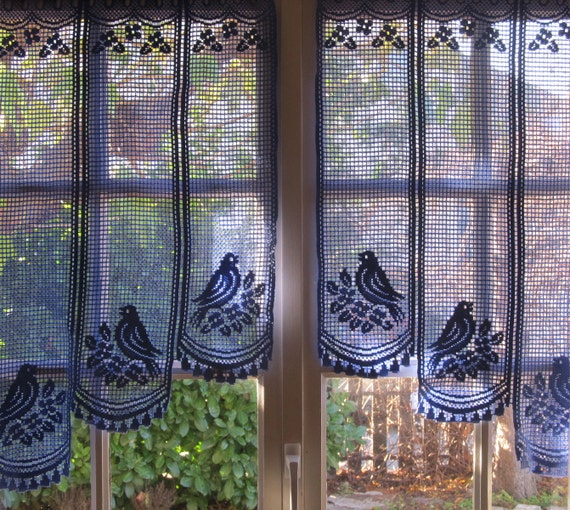Provence Blue Lace Cafe Curtains French Valance