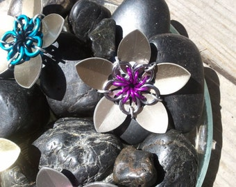 Everlasting Flower in silver and purple