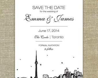 Toronto Skyline Save the Date printed sample with envelope; SAMPLE ONLY