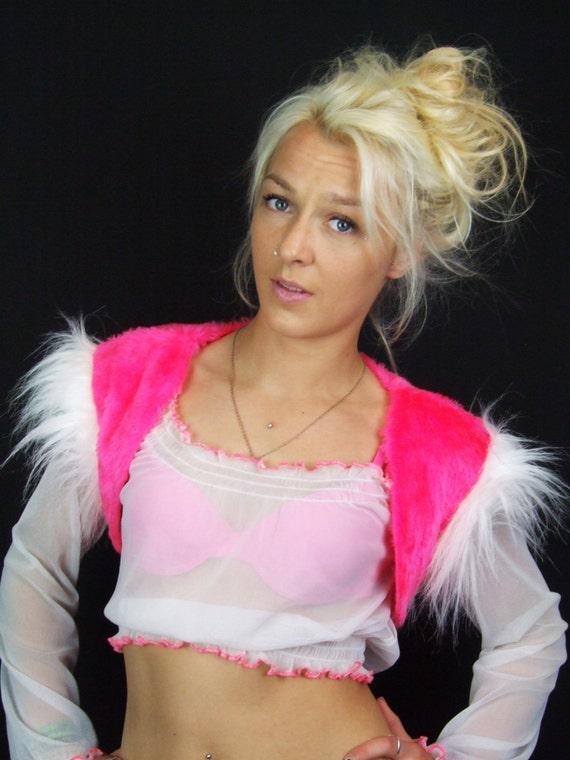 NEON Pink Fur Bolero, UV White, Long Fur, Cropped Vest, Faux Fur, Ladies, Waistcoat, Rave, S, Small, Cat Costume, Party, Festival Wear, OOAK