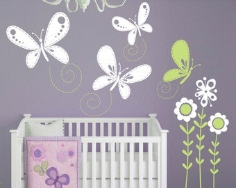 Wall decals STITCHED BUTTERFLIES & FLOWERS Surface graphics Interior decor by Decals Murals (Large)