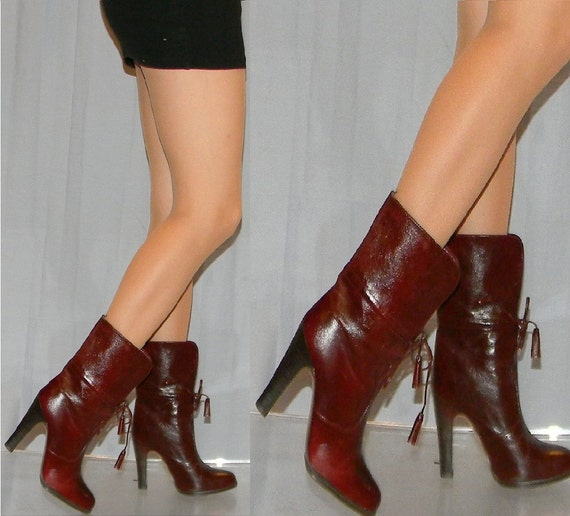 vintage 80s SEXY high heel ankle boots sz 5.5 Brazil