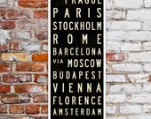 SMALL Europe Travel Poster, Bus Scroll, European Décor, Roll Sign, Canvas Subway Art, Typography Print, Wall Sign, Home Décor. 12 x 36
