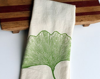 Natural Flour  Sack Towel - Ginkgo - Hand Screen Printed