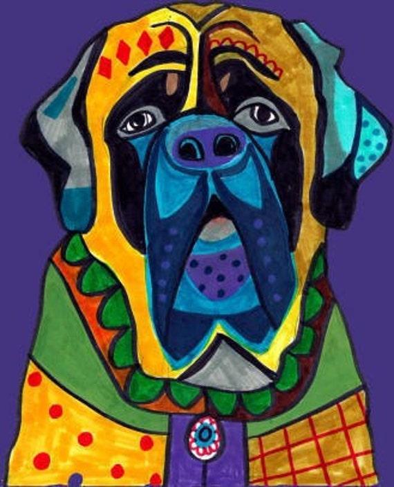 Mastiff Art -  Dog Art Modern  Art Print Poster by Heather Galler (HG611)