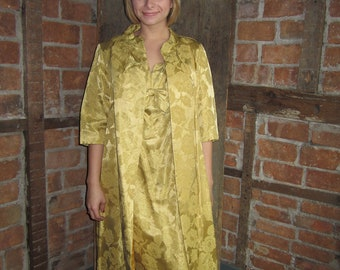 1960s Dress Brocade/ Opera Coat Dress/ Wiggle Dress/ Swing Coat Set