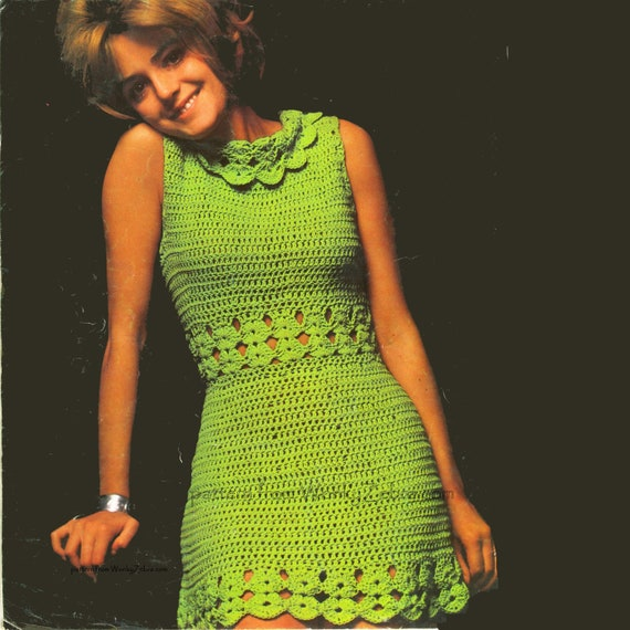 Vintage Crochet Green Goddess Dress Pattern PDF 409 From