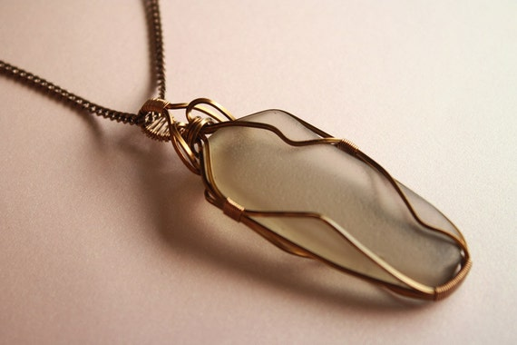 Men's Necklace Sea Glass Wire-Wrapped Pendant - Smokey Grey in Antiqued Brass