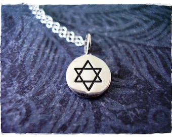 Tiny Star of David Necklace - Sterling Silver Star of David Charm on a Delicate 18 Inch Sterling Silver Cable Chain