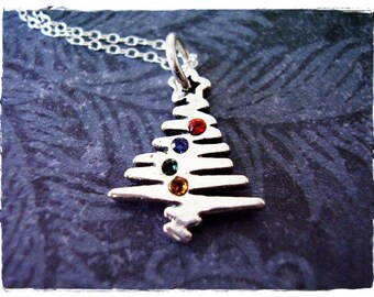 Rainbow Crystal Christmas Tree Necklace - Sterling Silver Christmas Tree Charm on a Delicate Sterling Silver Cable Chain or Charm Only