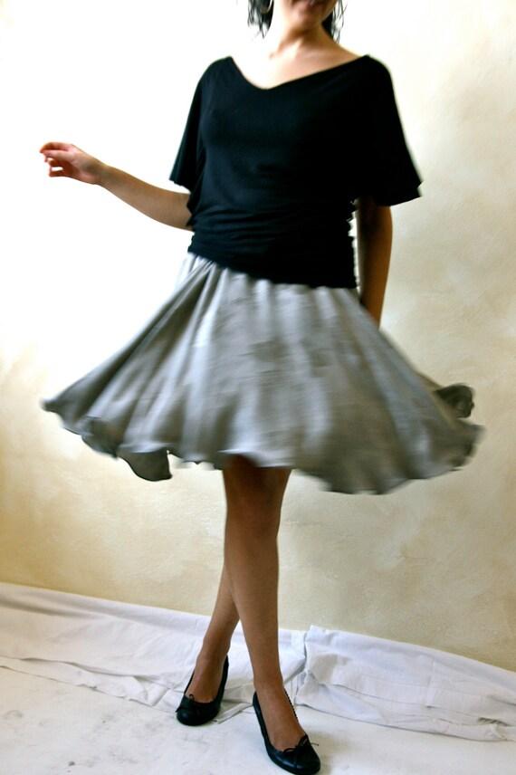 circle parisian skirt knee length damask skirt grey