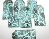 6 Fancy Gift Tags - Peacock in Paisley - label, elegant, sophisticated, teal, aqua, scroll
