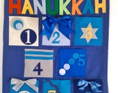 Hanukkah Countdown Calendar Whimsical Colorful Fabrics fill yourself with goodies Advent