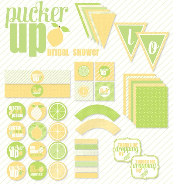 Bridal Shower PRINTABLE 'Pucker Up'  Full Party by Love The Day