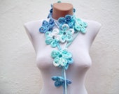 Scarf,Lariat Necklace,Crochet Lariat Scarf,Blue Flower Scarf