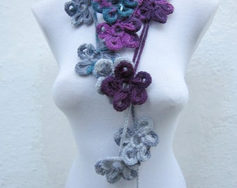 Crochet Lariat,Scarf,Flower Lariat Scarf,Lariat Jewelery,Necklace,Women scarf