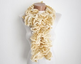 Cream Knit Scarf Fall Fashion Frilly scarf Ruffled Scarf  Holiday Accessories women scarf mothers day