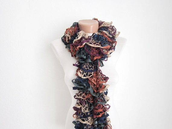 Knit Scarf Fall Fashion Frilly scarf Ruffled Scarf Holiday Accessories women scarf Valentines gift