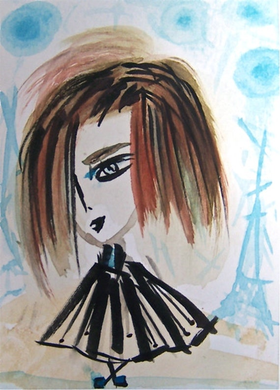 Maya in Paris- ACEO Original Watercolor, Ink and Marker on Archival Paper -Black White Rust Brown Sky Blue and Beige