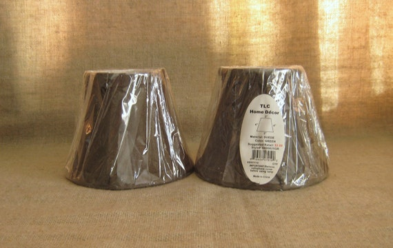 Pair of Mini Lamp Shades / Faux Suede Mini Lamp Shades
